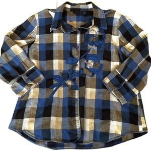 Westbound Womens Button Front Plaid Shirt Size XL